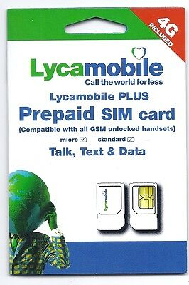 USA Lycamobile dual cut sim card with $10 credit   4G LTE   T-mobile USA network