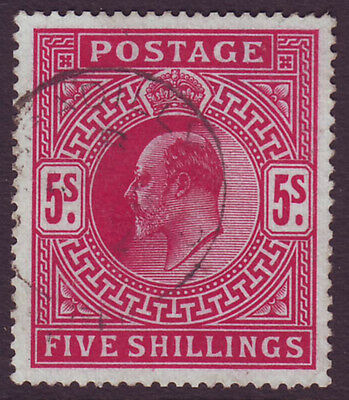 GREAT BRITAIN -  EDWARD VII 1902 KEVII 5s brt carmine used with - 21247