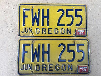 1974 Base Oregon License Plate Pair - FWH 255 - June 1988 tags