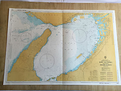 Large Admiralty Chart Office Map of Approaches to Kobe and Osaka Naval Map 1995