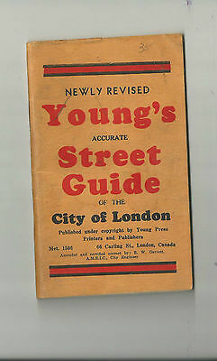 Young's ACCURATE STREET GUIDE CITY OF LONDON ONTARIO 1960'S