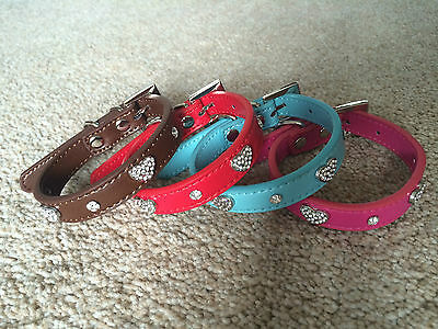 Dog puppy pet Collar bling rhinestone Crystal PU Leather Heart Diamante
