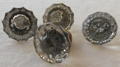 4 Antique Glass Door Knobs 12 Point Facet Style