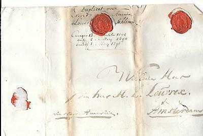 Pack of large folio letters Curacao-Amsterdam 1794