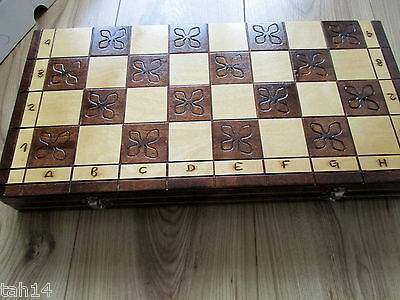 Hand Crafted Wooden Chess Set And Board /hinged Box Storage Case