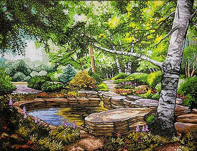 "Gobelin Tapestry Needlepoint Kit ""Kinkade Landscape""  printed canvas  207"