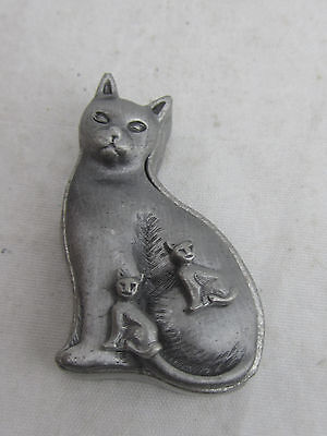 EUC Torino - Sitting Cat Pewter Trinket Box Brooch Pin and Stud Earrings