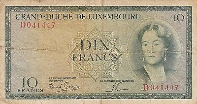 10 Dix Francs Luxembourg Banknote