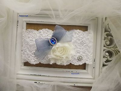 Wedding Garter Hannah Ivory Stretch Lace Blue Crystal Pearl Vintage Bridal Gift