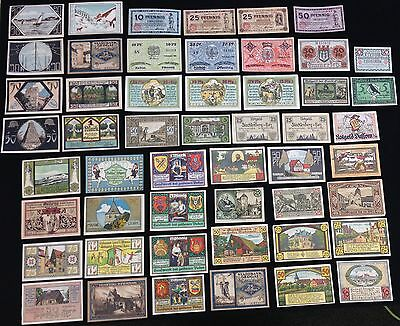 Lot of 50 German Notgeld Notes Never Sorted, Old Collection VF to Unc. {DO602}