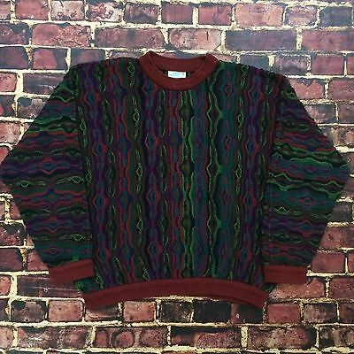 Vintage 90s COOGI Cable Knit Sweater Biggie Cosby L Large Made in Australia