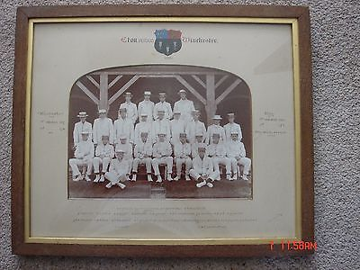 Original framed and mounted Eton College v Winchester photograph 1903.