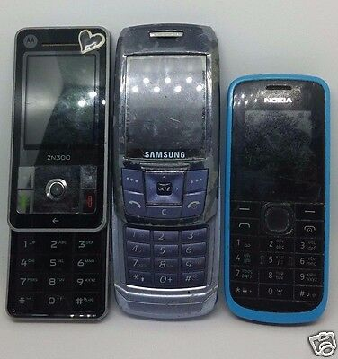 Lot of 3 Gsm Phones Samsung Motorola Nokia for Parts As Is