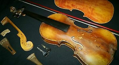 antique violin with bow (Stainer design)with hand carved extra parts