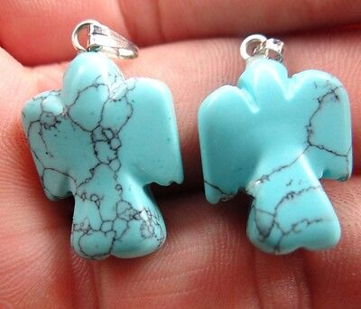 2pcs Hand-carved the Angel Turquoise agate pendant Gemstone Loose Beads