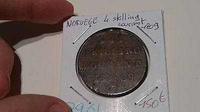 Norway 4 Skilling Courant1809 - Old Norwedgian Corner - Ref7961