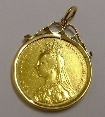 1892 Solid Gold Full Sovereign Jubilee Head Victorian - Mounted