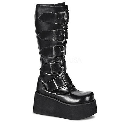 Demonia Trashville 518 Ladies Goth Punk Cyber 5 Buckled Black Mat Knee Boots