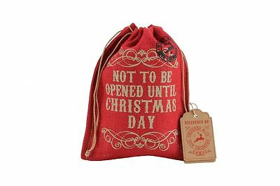 'Not To Be Opened Until Christmas Day' Red Hessian Gift Bag