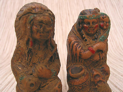 American Indian Wooden Sculptures Figures Indian Chief Squaw with Child