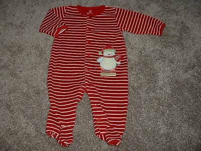 Carters Baby 1st Christmas Holiday Snowman Sleeper Pajamas 6 months 6M m Infant