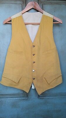 Vintage Equestrian Yellow Vest English Hunt Waistcoat Large Cosplay Costume