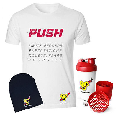 BSN Push Men's Gym Bodybuilding White T-Shirt + FREE BSN Black Beenie Winter Hat
