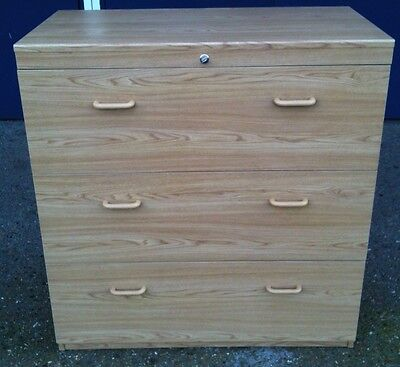Lateral Filing Cabinet. 3 Drawers, Lockable, Large, Wooden.