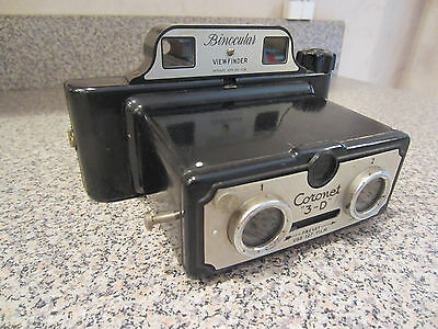 Vintage Coronet 3-D Bakelite Stereo Camera Photographs Made in England Working