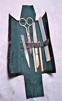 Antique Medical Tools Adams Dissection Kit Scalpel Scissors in Leather Case