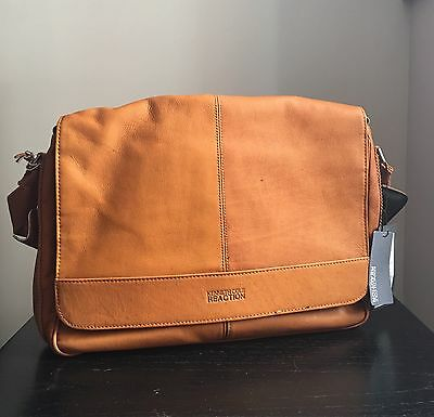 Kenneth Cole Leather 'Risky Business' Tan Messenger Flap Bag $300 NWT