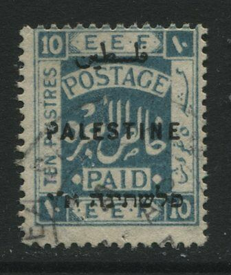 Palestine: 1922 EEF 10 piastres stamp - light blue Perf 14 SG83 Used ZZ073