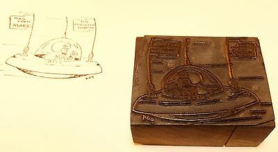 Vintage Letter Press Printing Block - Space ship w/ Bill Man From Mars graphic