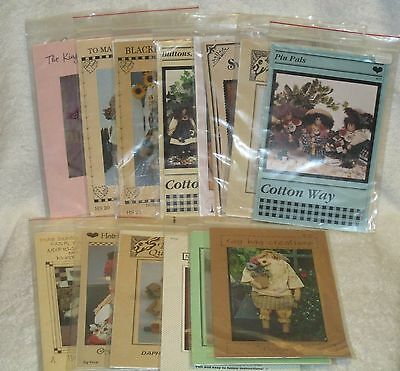 Huge Lot Doll Sewing Patterns Annie Amish Primitive Angel Animals