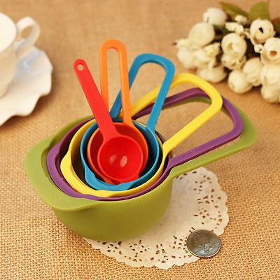 NEW Colorful Measuring Cup Spoons Set Built Nested Baking Cooking Kitchen Tool
