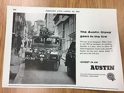 RARE 1961 AUSTIN GIPSY - Goes To The Fire Vintage B&W A5 Car Advert L15