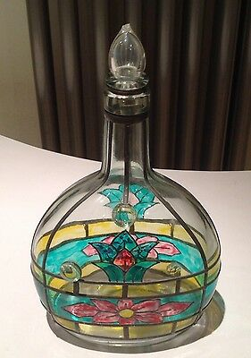 vintage stained glass decanter very rare