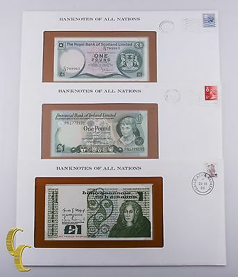 1979-1982 Banknotes of all Nations 3 Pc Lot N. Ireland, Scotland $1 Pound UNC