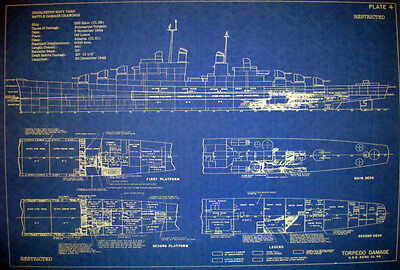 WW2 US Navy War Damage Shipyard Blueprint USS Reno CL96 18x26  (149)