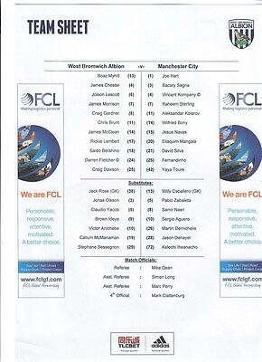 West Bromwich Albion v Manchester City (Team Sheet only) - 10/08/2015