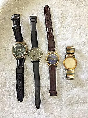 Lot of 4 Nice old men's watches- Timex, Caravelle, Quartz