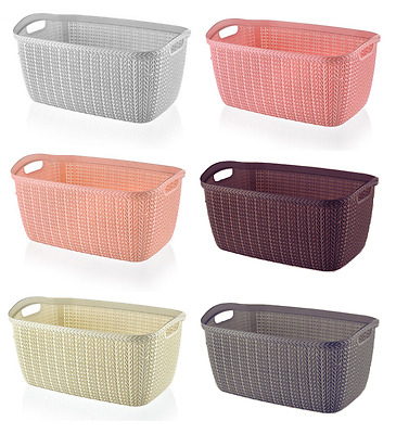 30L KNITTED Colour Plastic Large Storage Baskets Boxes Unit Stackable Container