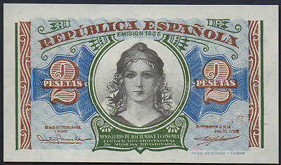 P95 2 Pesetas Spain Bank Note 1938 'unc' Beautiful Colours Early Note Rare