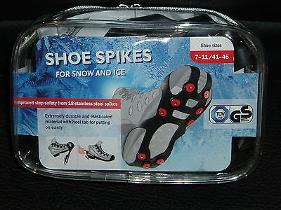 SHOE SPIKES FOR SNOW AND ICE x 1 PAIR - BLACK - SIZE 7-11/41-45 - BNIP