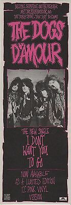 ☆☆ THE DOGS D'AMOUR  ADVERT  I DON'T WANT YOU TO GO Magazine rare advert ☆☆ 002