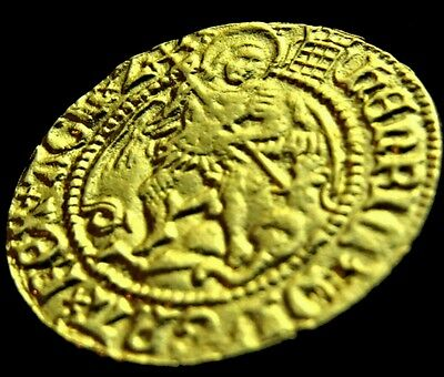 Henry 8 Henry VIII Half Angel Coin Gold plated Hammered Restrike Beautiful Rare