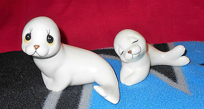 Vintage White Seal Ceramic Figurines - Made in Mexico by OXFORD
