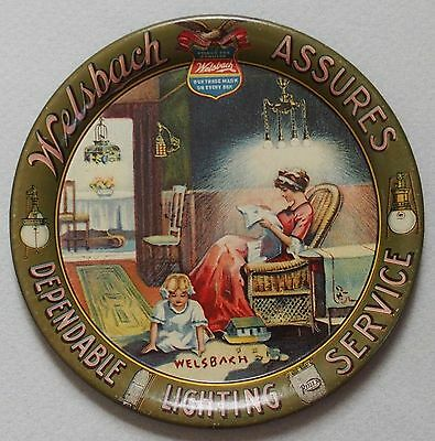 Mint Walsbach Light Co Tin Advertising Tip Tray Great Graphic Mother And Child