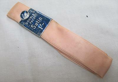 """VINTAGE 1930's BABY PINK 1"""" DOUBLE FACED STAIN RIBBON WITH ORIGINAL LABEL"""