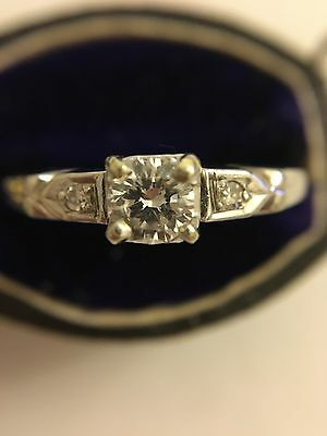 Beautiful Diamond 18ct 18k White Gold Ring Solitaire Engagement Vintage
